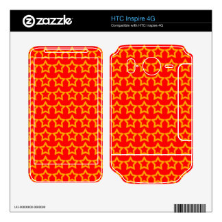 Pattern Red Background with Orange Stars Decal For HTC Inspire 4G