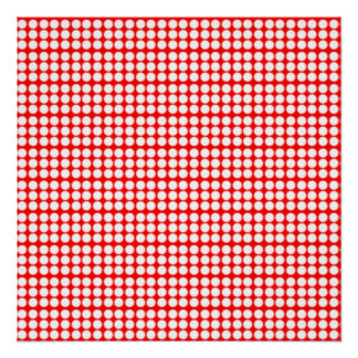 Pattern: Red Background with White Circles Poster