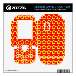 Pattern Red Background with Yellow Stars Samsung Gravity 2 Skin