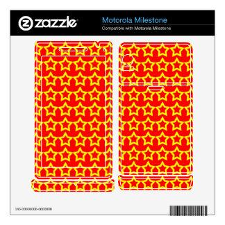 Pattern: Red Background with Yellow Stars Motorola Milestone Decals