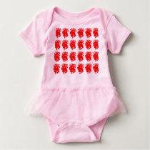 Pattern red hearts Baby Tutu Bodysuit, Pink Baby Bodysuit