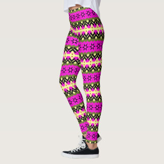Pattern Rows Stars Squares Leggings