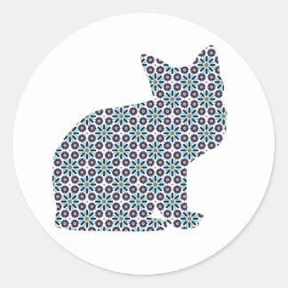 Pattern Silhouette Kitty Cat Classic Round Sticker