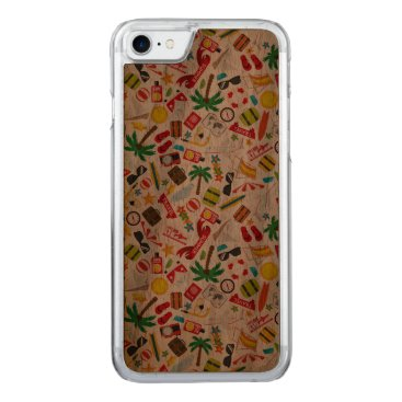 Beach Themed Pattern Summer holiday travel south sea Carved iPhone 7 Case