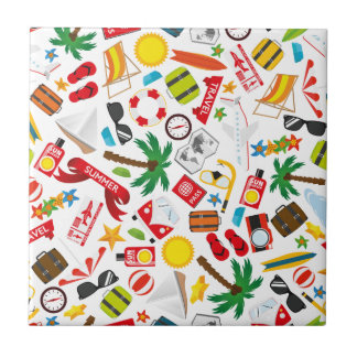 Pattern Summer holiday travel south sea Ceramic Tile