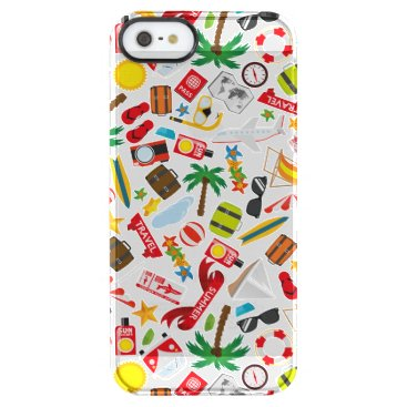 Beach Themed Pattern Summer holiday travel south sea Clear iPhone SE/5/5s Case