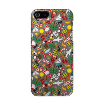 Beach Themed Pattern Summer holiday travel south sea Metallic Phone Case For iPhone SE/5/5s