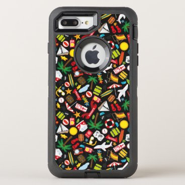 Beach Themed Pattern Summer holiday travel south sea OtterBox Defender iPhone 7 Plus Case