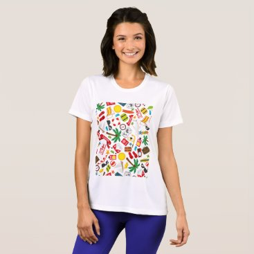 Beach Themed Pattern Summer holiday travel south sea T-Shirt
