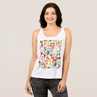Beach Themed Pattern Summer holiday travel south sea Tank Top