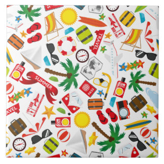 Pattern Summer holiday travel south sea Tile