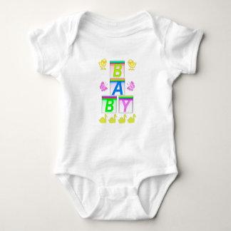 Pattern, Text BABY, Bricks Jersey Bodysuit, White. Baby Bodysuit