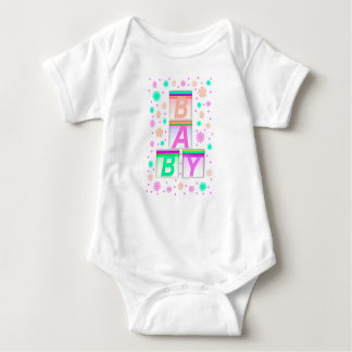 Pattern, Text BABY, Bricks Jersey Bodysuit, White Baby Bodysuit