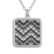 pattern texture black & white art silver plated necklace
