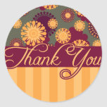 Pattern Thank You Card Classic Round Sticker
