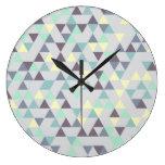 Pattern Triangles Purple Turquoise Clocks