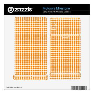 Pattern: White Background with Orange Circles Motorola Milestone Skin