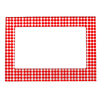 Pattern: White Background with Red Circles Picture Frame Magnet