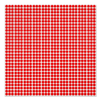 Pattern: White Background with Red Circles Poster