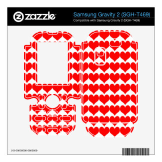 Pattern: White Background with Red Hearts Samsung Gravity 2 Skins