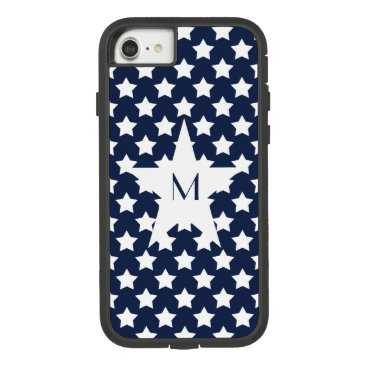 USA Themed Pattern White Stars on Navy Blue Star Monogram Case-Mate Tough Extreme iPhone 7 Case