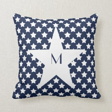 USA Themed Pattern White Stars on Navy Blue Star Monogram Throw Pillow