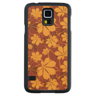 Pattern with autumn chestnut leaves carved maple galaxy s5 slim case