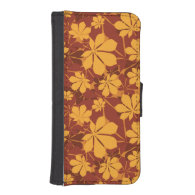 Pattern with autumn chestnut leaves iPhone 5 wallet cases