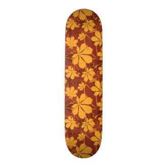 Pattern with autumn chestnut leaves skateboard