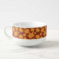 Pattern with autumn chestnut leaves soup bowl with handle