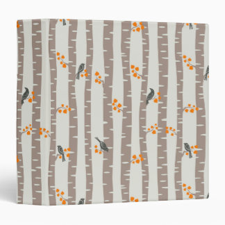 Pattern with autumn trees and birds binder
