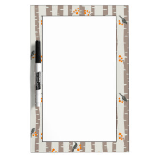 Pattern with autumn trees and birds Dry-Erase board