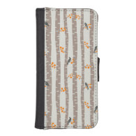 Pattern with autumn trees and birds iPhone 5 wallet cases