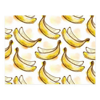 Pattern with banana postcard