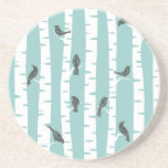 Pattern with birds and trees drink coaster
