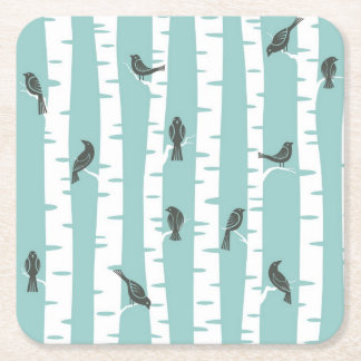 Pattern with birds and trees square paper coaster