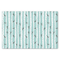 Pattern with birds and trees tissue paper