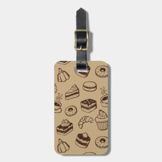 Pattern With Cakes, Desserts And Bakery Bag Tag