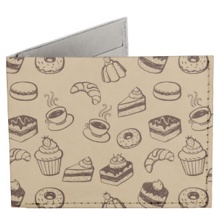 Pattern With Cakes, Desserts And Bakery Billfold Wallet