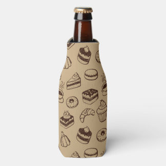 Pattern With Cakes, Desserts And Bakery Bottle Cooler