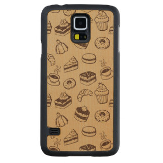 Pattern With Cakes, Desserts And Bakery Carved® Maple Galaxy S5 Case