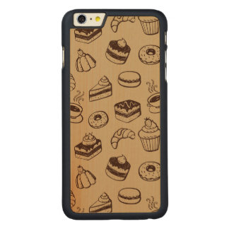 Pattern With Cakes, Desserts And Bakery Carved® Maple iPhone 6 Plus Case