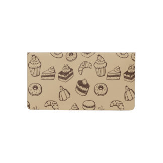 Pattern With Cakes, Desserts And Bakery Checkbook Cover