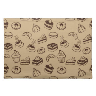 Pattern With Cakes, Desserts And Bakery Cloth Place Mat