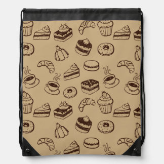 Pattern With Cakes, Desserts And Bakery Drawstring Bag