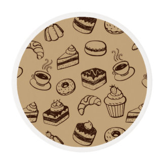 Pattern With Cakes, Desserts And Bakery Edible Frosting Rounds