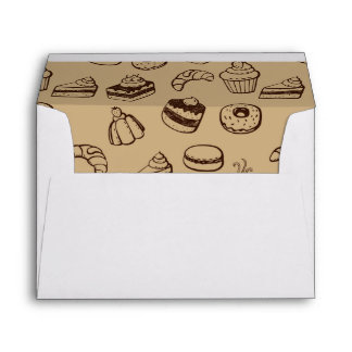 Pattern With Cakes, Desserts And Bakery Envelope