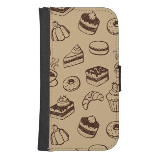 Pattern With Cakes, Desserts And Bakery Galaxy S4 Wallet Case