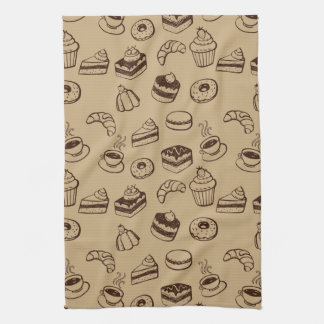 Pattern With Cakes, Desserts And Bakery Hand Towel