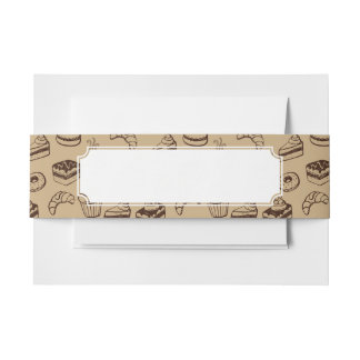 Pattern With Cakes, Desserts And Bakery Invitation Belly Band